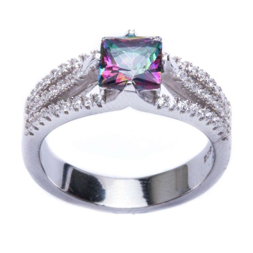 .925 Sterling Silver 2.50Ct Square Rainbow Colored Cz & Cz Ring Size 7