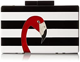 Jessica McClintock Flamingos Clutch, Black/White, One Size
