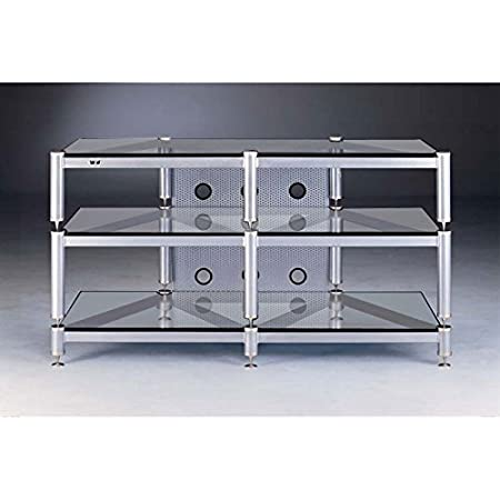 VTI BLG503 Series 44 inch Wide AV Rack (Silver Poles with Clear Glass) BLG503SSW