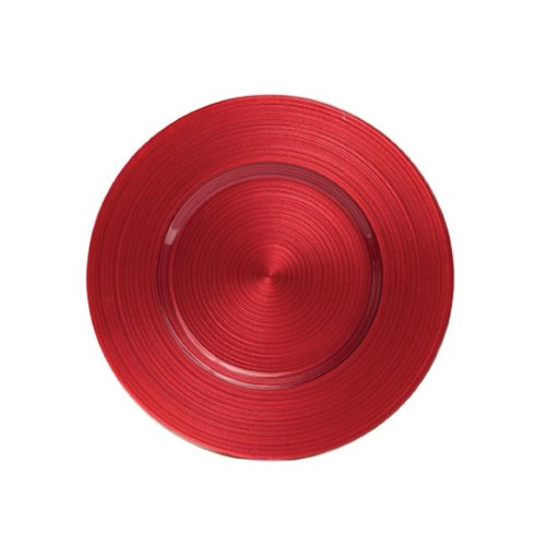 Koyal Wholesale Ripple Glass 4 Count Charger Plates, Red front-1055674