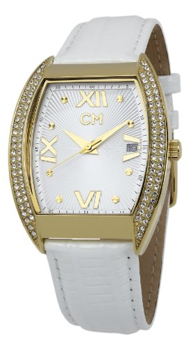 Carlo Monti Brescia Women's Quartz Watch with White Dial Analogue Display and White Leather Strap CM508-286