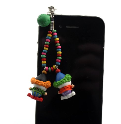 Nine States Hard Plastic Lovely Cartoon Happy Couple Clowns 3.5Mm Headphone Jack Anti Dust Plug Ear Cap For Iphone 5 5S 5C Iphone4,4S,Ipad ,Ipod Touch ,Samsung Galaxy S3 S4 Note 3 Note2,Blackberry And Other Cellphone