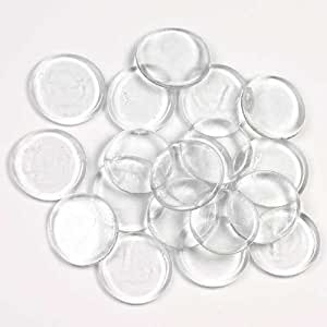 20 round clear glass tile wafers for Glass discs for crafts