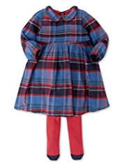2 Piece Autograph Cotton Rich Tartan Checked Dress & Tights Outfit