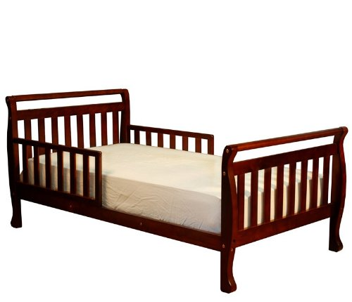 Kid's Toddler Bed with Guard Rails in Cherry Finish