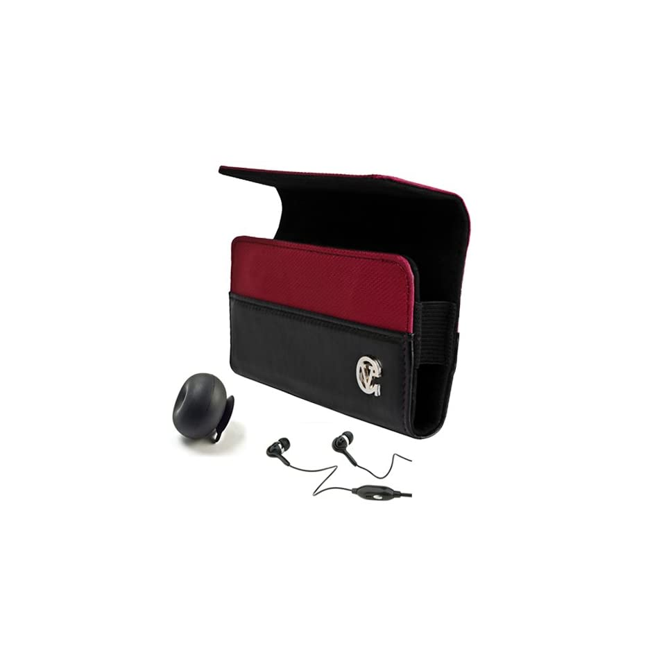 Burgundy Red SumacLife Portola Edition Premium Leather Holster Case for HTC Vivid 4G LTE Android Smartphone with 4.5 inch qHD Display Screen by AT&T + Black Handsfree Headphones with Mic + Black Rubberized Silicone Suction Cup Stand + SumacLife TM Wisdom C