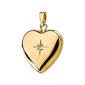 IceCarats Designer Jewelry 14K Yellow Gold 14K Yellow .005 Ctw Diamond Heart Shape Locket