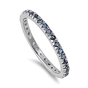 Sterling Silver Ring With Blue Sapphire Cubic Zirconia