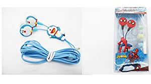Affeeme combo of Doremon and Spiderman Earphone with 3 pair extra Earbuds No Warranty Wired Headphones