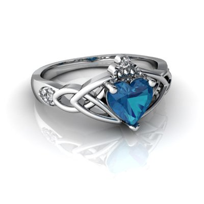14kt White Gold London Topaz and Diamond 6mm Heart Claddagh Trinity Knot Ring - Size 7