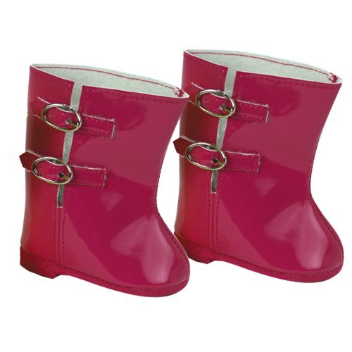 18 Inch Doll Rain Boots Fits 18 Inch American Girls Doll Clothes & More! Doll Shoes set of Hot Pink Rain Boots for Dolls - 1