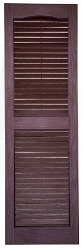 Perfect Shutters IL541463260 14-1/2-Inch by 63-Inch Louvered Cathedral Top Center Mullion Exterior Shutter, 1-Pair, Burgundy