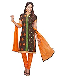 DHARM APPAREL Brown colored chanderi silk Dress Materials