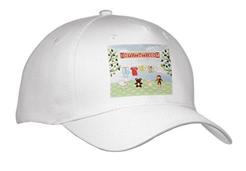 Cap_192560_1 Beverly Turner Baby Stuff Design - Clothline Of Baby Clothes, Two Trees With Animals, Invitation - Caps - Adult Baseball Cap front-90741