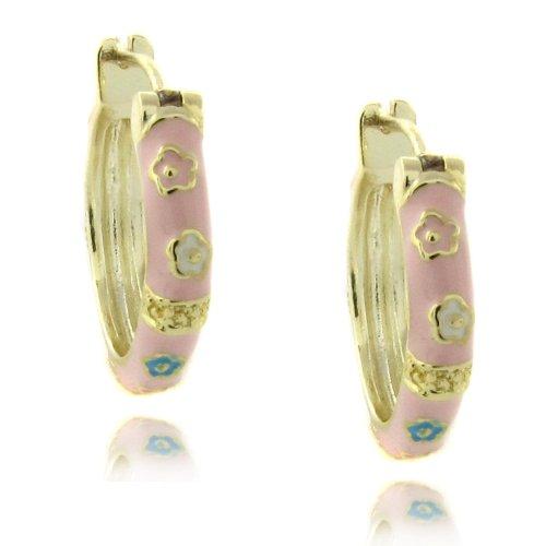 Lily Nily 18k Gold Overlay Pink Enamel Multi Flower Design Children's Hoop Earrings
