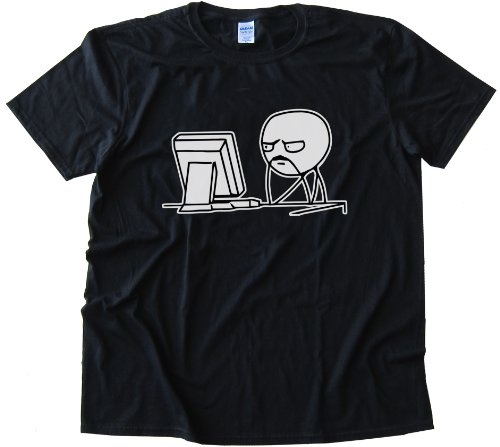 Fu Man Chu Reddit Computer Guy Tee Shirt Gildan Softstyle Black (XL)
