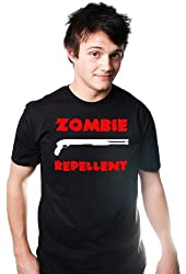 ZOMBIE REPELLENT FUNNY SOFT T-SHIRT SHOTGUN GEEK NERD TEE ZOMBIELAND GAMER DEAD