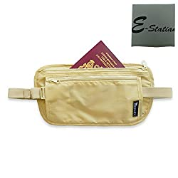 Close Out - Light Weight Money Belt - Comfortable Travel Waist Stash - Security Wallet Gear Undercover Waterproof with Two Zippered Compartments For Money, Passport Credit Cards & ID (Beige)