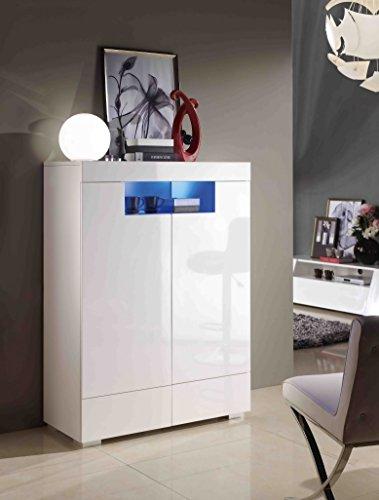 Highboard-Kommode-Wei-Wohnzimmer-Schlafzimmer-Modern-LED-Hochglanz-Elegant