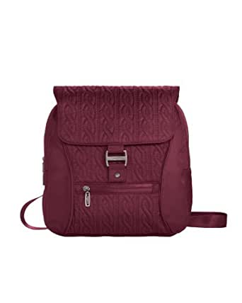 Baggallini Luggage Enchant Satin Quilted Backpack, Cranberry, One Size