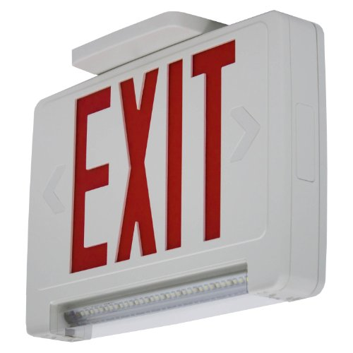 **All Led** Red Exit Sign W/ Emergency Light Pipe Combo - Combolp