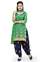 Green Cotton Embroidered Unstitched Dress Material