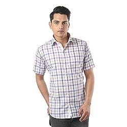 ZIDO Purple Blended Men's Checks Shirts PCFLXHS1324_Purple_46