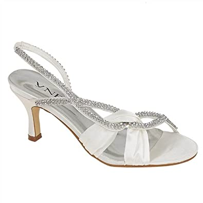 heel slingback diamante ivory satin bridal bridesmaid wedding shoes