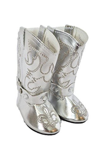 SILVER WESTERN COWGIRL BOOTS FOR AMERICAN GIRL DOLLS WITH GEMS