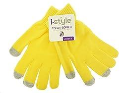 Ladies Neon Touchscreen Stretch Gloves - Grey/Yellow