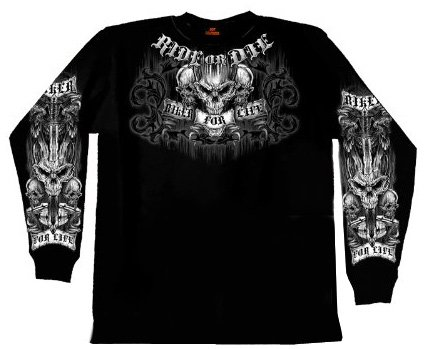 Hot Leathers Ride or Die Long Sleeve Double Sided T-Shirt (Black, X-Large)