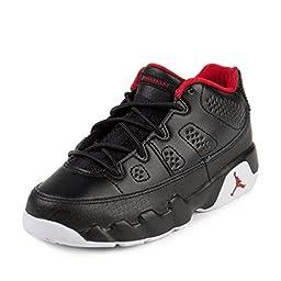 Nike Jordan Kids Air Jordan 9 Retro Low Bp Black/Gym Red/White Basketball Shoe 12 Kids US