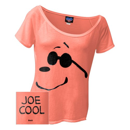 Peanuts - Joe Cool Shades Juniors T-Shirt Small Orange front-1068309