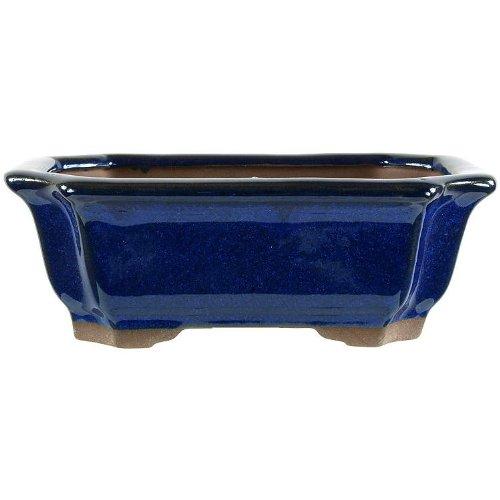Bonsai pot 15.5x11.5x5.5cm blue glaced rectangular