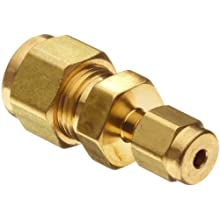 Parker A-Lok 6RU1-B Brass Compression Tube Fitting, Reducing Union, Tube OD x Tube OD