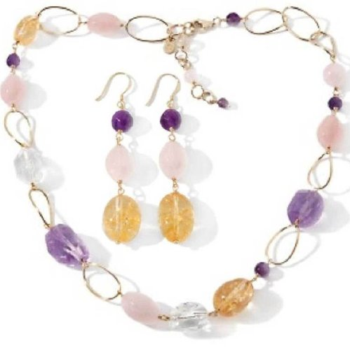 Gold Plated Sterling Silver Amethyst, Citirne and Quartz Necklace & Earrings Set