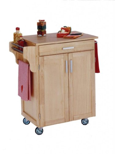 Cheap Home Styles Small Kitchen Cart With Wood Top – Natural – 9001-0011 (B0060LZW4C)