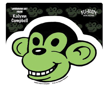 kalynn-campbell-lowbrow-smiling-green-monkey-decalcomania-sticker-5-w-x-3-1-2-h-weather-resistant-lo