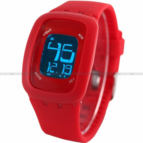 AMPM24 LCD Touch Screen Alarm Date Day Backlight Lady Mens Red Sport Silicone Watch