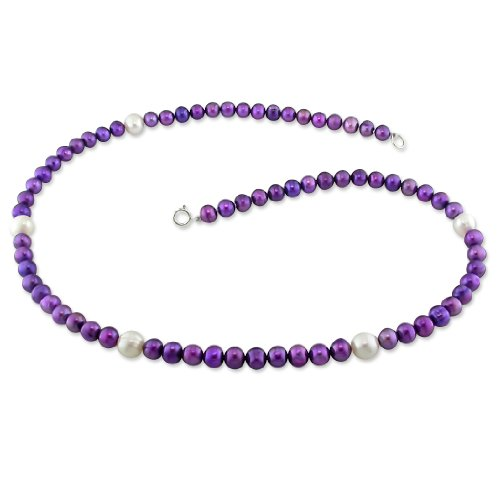 5-6 mm FW Purple and 7 mm White Pearl Single Row Necklace, 18