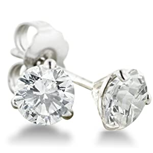 1ct Round Diamond Stud Earrings in 14k White Gold with Martini Setting, HI SI2-I1