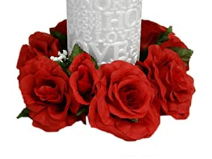 8 pcs Silk ROSES Flowers Candle Rings Wedding Centerpieces - Red