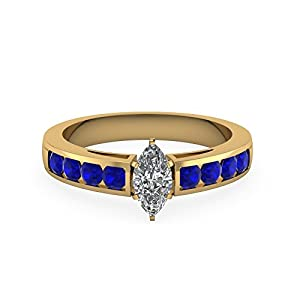 0.90 Ct Marquise Cut Unique Gemstone Womens Engagement Rings With Sapphire 14K GIA (G Color, SI2 Clarity)
