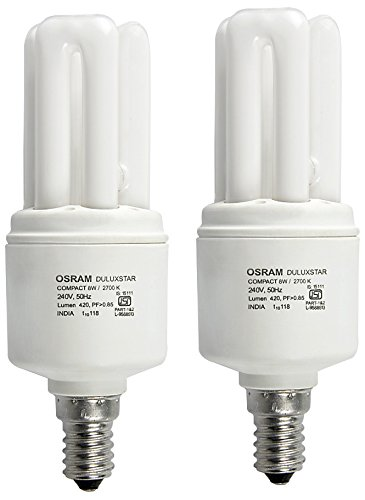 Osram E27 8W Mini Stick CFL Bulb (White, Pack of 2)