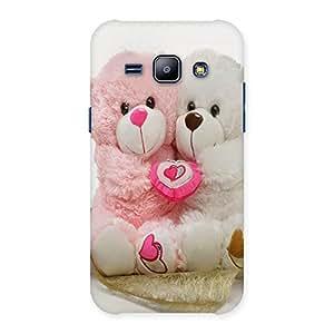 Ajay Enterprises Pink White Teddy Hug Back Case Cover for Galaxy J1