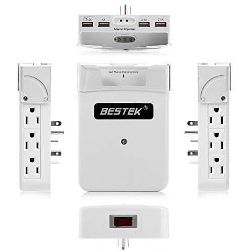 Bestek 6 Outlet Upgraded Wall Mount Surge Protector With 5