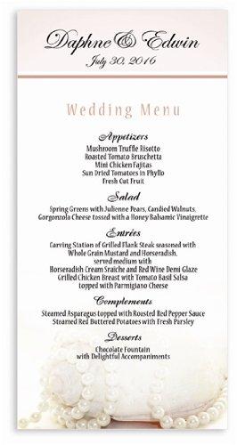 175 Wedding Menu Cards - Nautilus Pearls front-1001427