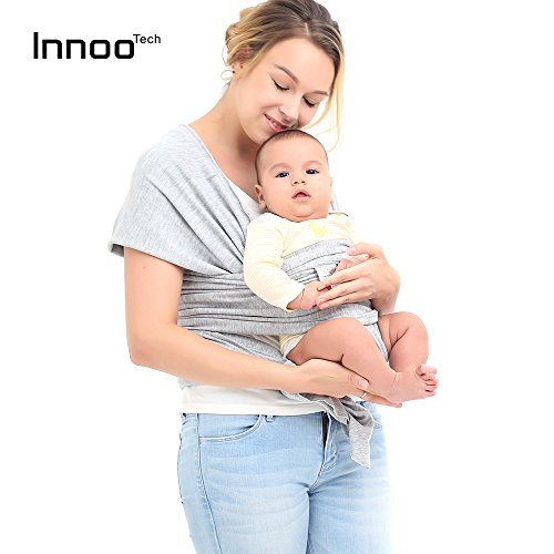 Baby Sling Carrier Natural Cotton Original Baby Wrap ,Grey, for babies from birth to 35 lbs -Fashion and Comfortable by Innoo Tech