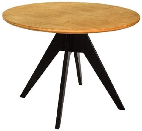 Table en chêne huilé RADIS noir et pieds plaque huilé, 75 x 85 cm