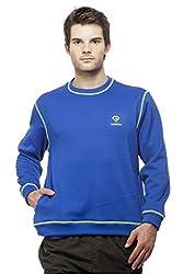 Gypsum Solid Mens Round Neck Sweat T-Shirt (Royal Blue)